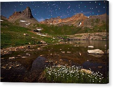Starlight Awakening In Ice Lake Basin Canvas Print by Mike Berenson
