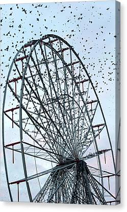 Starling Flock On Blackpool Ferris Wheel Canvas Print by Simon Booth