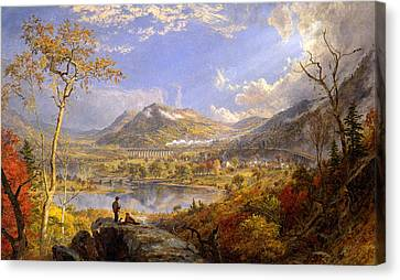 Starrucca Viaduct. Pennsylvania Canvas Print by Jasper Francis Cropsey
