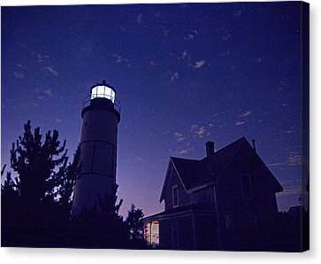 Starry Night At Sandy Neck Lighthouse Canvas Print by Charles Harden