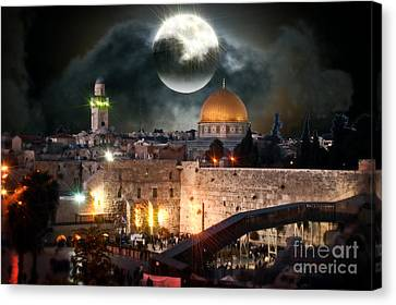 Starry Night At The Dome Of The Rock Canvas Print by Doc Braham