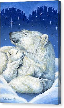 Starry Night Bears Canvas Print by Richard De Wolfe