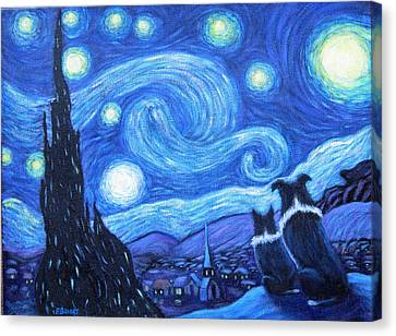 Starry Night Border Collies Canvas Print by Fran Brooks