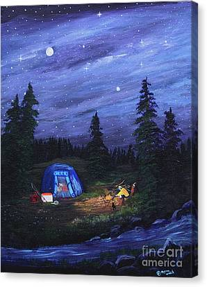 Starry Night Campers Delight Canvas Print by Myrna Walsh