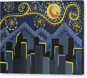Starry Night Cityscape Canvas Print by Angelina Vick