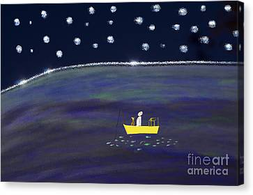 Canvas Print featuring the digital art Starry Night Fishing by Haleh Mahbod