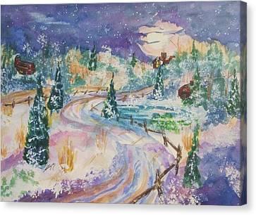 Starry Night In A Winter Wonderland Canvas Print by Ellen Levinson