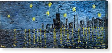 Starry Night In Chicago Canvas Print