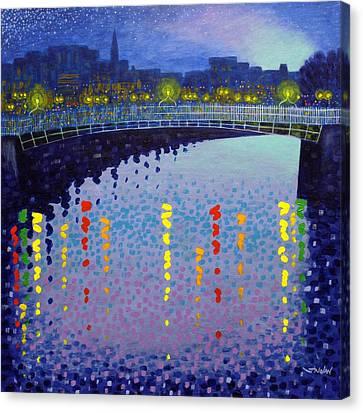 Starry Night In Dublin Half Penny Bridge Canvas Print by John  Nolan
