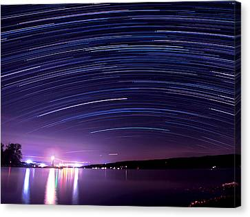 Starry Night On Cayuga Lake Canvas Print by Paul Ge
