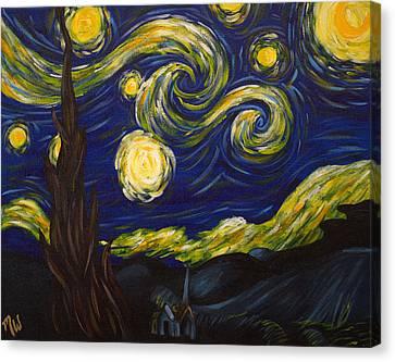 Starry Night Remix Canvas Print by Melynda Enslow