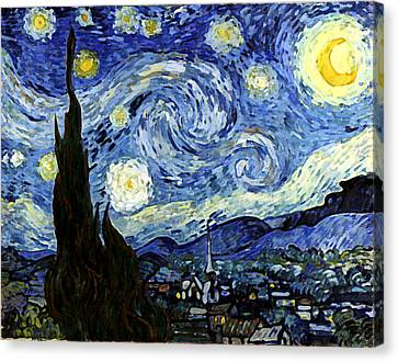 Canvas Print featuring the digital art Starry Night Reproduction Art Work by Vincent van Gogh