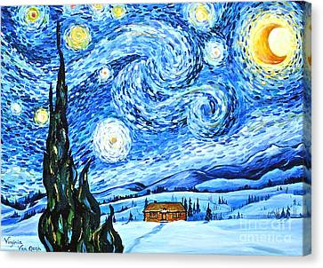 Starry Night In The Rockies Canvas Print by Virginia Ann Hemingson