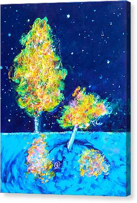 Starry Night With Almost Solitary Tree Canvas Print by Ion vincent DAnu