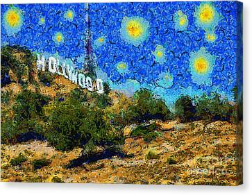Starry Nights In The Hollywood Hills 5d28482 20141005 Canvas Print by Wingsdomain Art and Photography