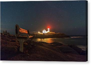 Starry Skies Over Nubble Lighthouse  Canvas Print by Bryan Xavier