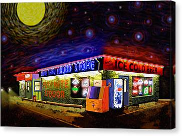 Starry Starry Fly By Nite Drive Thru Liquor Store Canvas Print by Robert FERD Frank