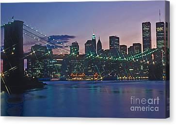 Stars Brooklyn Bridge Canvas Print by Bruce Bain