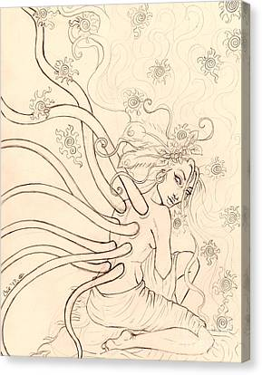 Stars Entwined In Her Hair Canvas Print by Coriander  Shea