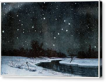Stars Over Snow Field Canvas Print by Cci Archives