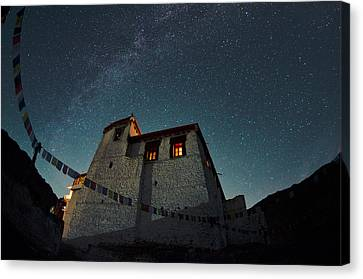 Stars Over The Monastery Canvas Print by Aaron Bedell