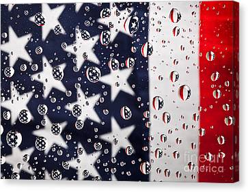 Stars Stripes And Water Drops Canvas Print by Sharon Dominick
