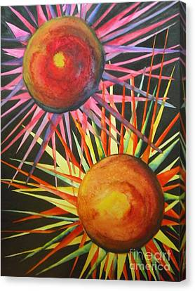 Canvas Print featuring the painting Stars With Colors by Chrisann Ellis