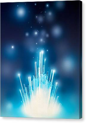 Stars With Trails Rising From Bright Canvas Print by Panoramic Images