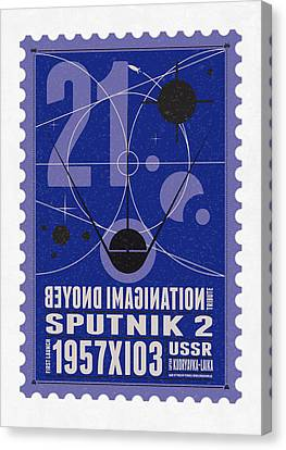 Science Fiction Canvas Print - Starschips 21- Poststamp - Sputnik 2 by Chungkong Art