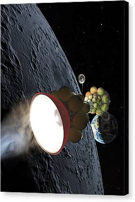 Starship Departing From Lunar Orbit Canvas Print by Don Dixon