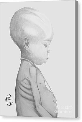 Canvas Print featuring the drawing Starved African Girl by Justin Moore
