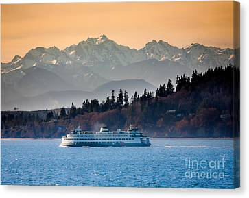 Pacific Northwest Ferry Canvas Print - State Ferry And The Olympics by Inge Johnsson