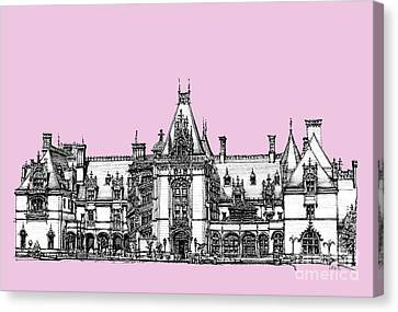 Stately Home In Pink Canvas Print by Building  Art