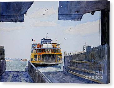 Sea Birds Canvas Print - Staten Island Ferry Docking by Anthony Butera
