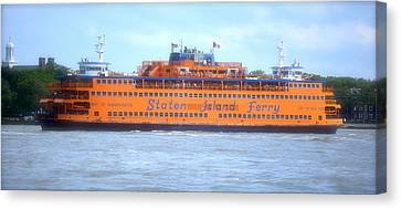 Staten Island Ferry In New York Harbor Canvas Print by Michael Dagostino