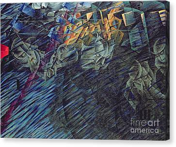 States Of Mind    Those Who Go Canvas Print by Umberto Boccioni