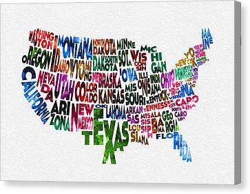 States Of United States Typographic Map Canvas Print by Ayse Deniz
