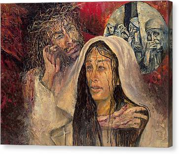 Station Iv Jesus Meets His Mother Canvas Print