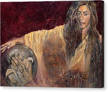 Station Vi Veronica Wipes The Face Of Jesus Canvas Print