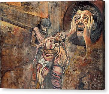 Station Xiii The Body Of Jesus Is Taken Down From The Cross Canvas Print