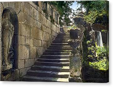 Statue And Stairs Canvas Print by Terry Reynoldson