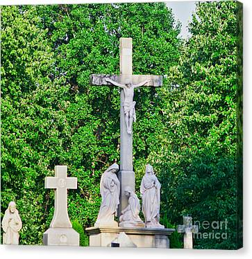Statue - Crucifix And Crosses - Luther Fine Art Canvas Print by Luther Fine Art