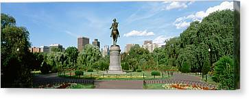 Pedestal Canvas Print - Statue In A Garden, Boston Public by Panoramic Images