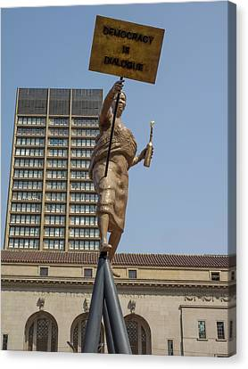 Statue In Front Of Johannesburg City Canvas Print by Panoramic Images