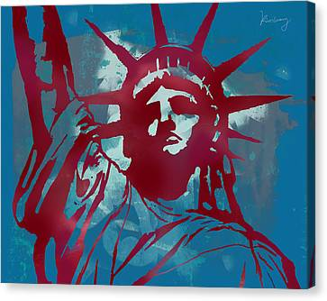 Statue Liberty - Pop Stylised Art Poster Canvas Print by Kim Wang