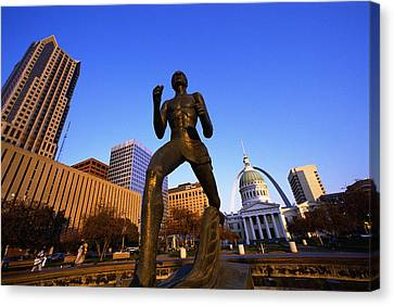 Historic Site Canvas Print - Statue Near Old Courthouse St Louis Mo by Panoramic Images