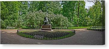 Statue Of Alexander Pushkin Canvas Print by Panoramic Images