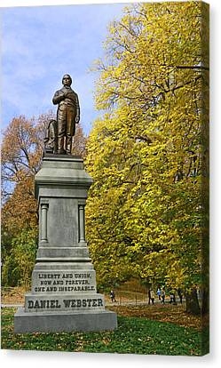 Statue Of Daniel Webster - Central Park Canvas Print
