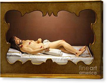 Statue Of Dead Christ Canvas Print by Gaspar Avila