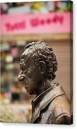 Woody Allen Canvas Print - Statue Of Film Director Woody Allen by Panoramic Images